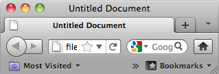 A screenshot of Safari web browser showing 'Untitled Document' as the title of the web page.