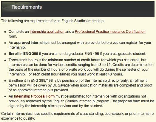 The Intership Qualifcations and Requirements web page now broken up into list elements.