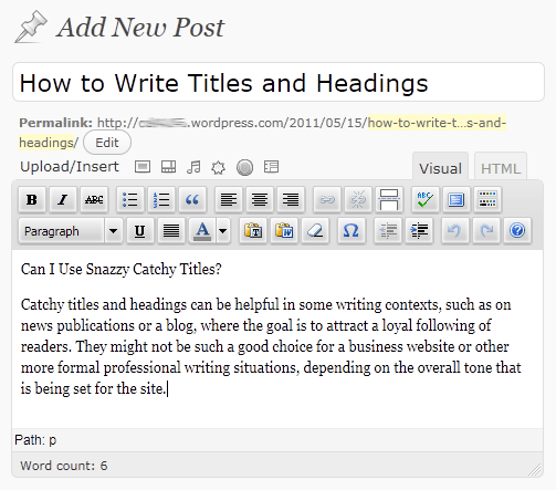 The WordPress WYSIWYG interface displaying sample text from this text with only paragraph formatting.